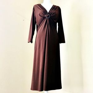 Evan Picone Brown Stretchy Midi Dress Size 14